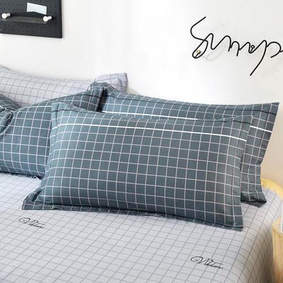 2019新款全棉12868单品枕套(2) 48cmX74cm/对 淑女格灰