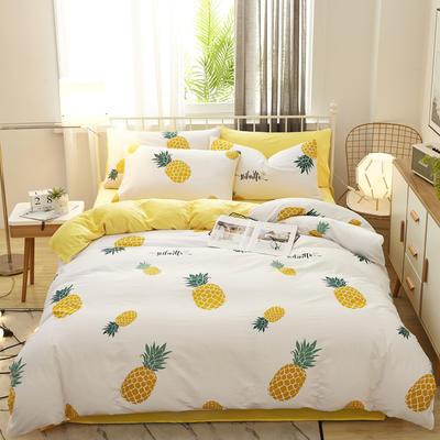 2019新款棉加绒四件套(1) 被套150*200床单160*230(床单款三件套) 菠萝