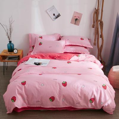 2019新款棉加绒四件套(2) 被套150*200床单160*230(床单款三件套) 草莓甜心
