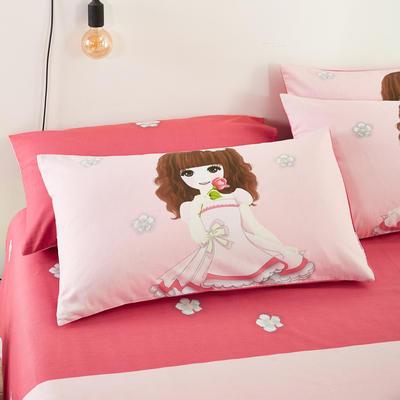 2020新款全棉大版花单品枕套 48cmX74cm/只 粉红女郎