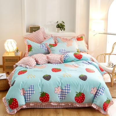 2020新款全棉13372花边四件套 1.8m床单款四件套 草莓波西