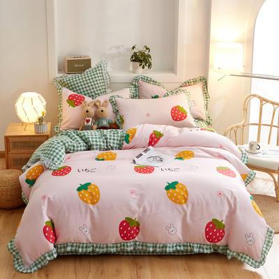 2020新款全棉13372花边四件套 1.5m床单款四件套 草莓之恋