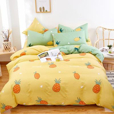2020新款全棉12868四件套长期花型 被套160*210床单160*230四件套 菠萝黄