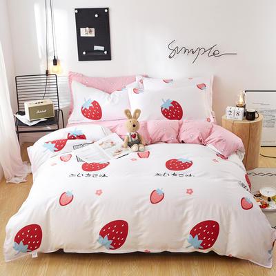2020新款全棉12868四件套长期花型 被套160*210床单230*250四件套 草莓