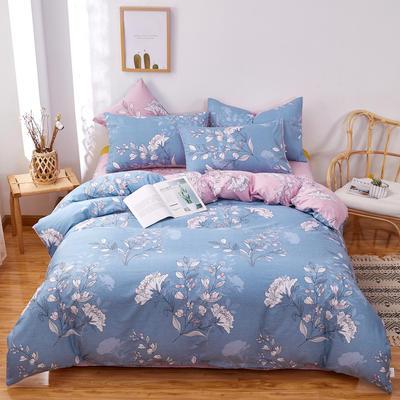 2020新款全棉12868四件套长期花型 被套160*210床单230*250四件套 馨雅蓝