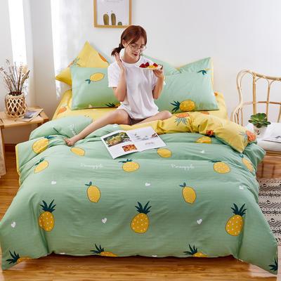 2020新款全棉12868单被套长期花型 110x150cm 菠萝绿