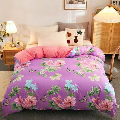 2020新款棉加绒单被套长期花型 180x220cm 梅琳达-紫