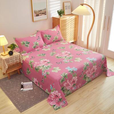 2020新款全棉12868单床单系列长期花型 160cmx230cm 梅琳达红