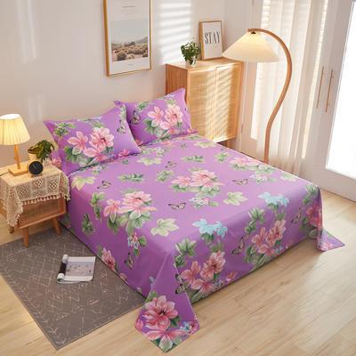 2020新款全棉12868单床单系列长期花型 160cmx230cm 梅琳达紫