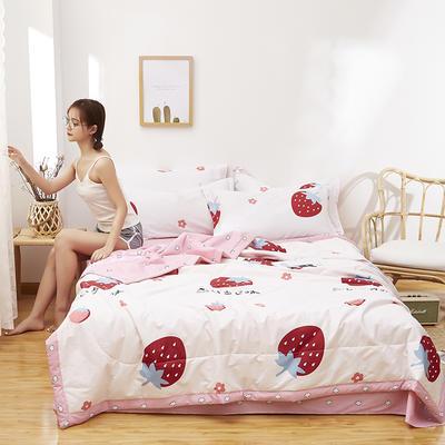 2021新款全棉12868印花夏被套件 110x150cm单夏被 草莓