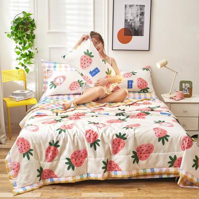 2021新款全棉12868印花夏被套件 150x200cm单夏被 水晶草莓