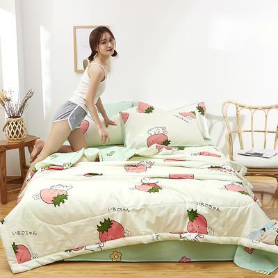 2021新款全棉12868印花夏被套件 150x200cm单夏被 草莓兔