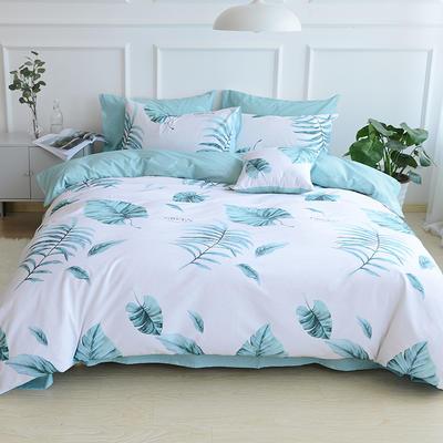 2018春夏新款13372全棉四件套 床单款小号 绿色心情