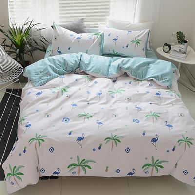 2018春夏新款13070全棉四件套 床单款1.2m床 夏威夷