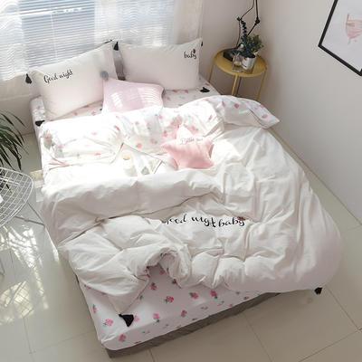 水洗棉全棉双拼绣花四件套流苏款 标准1.8m床笠款 草莓仙子