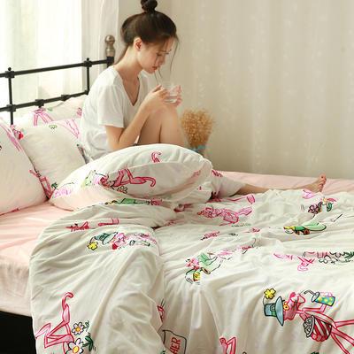 专版宝宝绒印花水晶绒套件 1.2m(4英尺)床 粉红豹