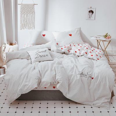 2018新款水洗棉绣花加印花四件套 1.2m(4英尺)床 心愿