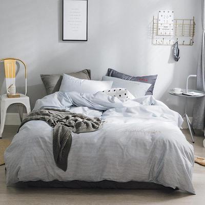 2018新款-创意生活四件套 1.2m(4英尺)床 淡蓝条纹