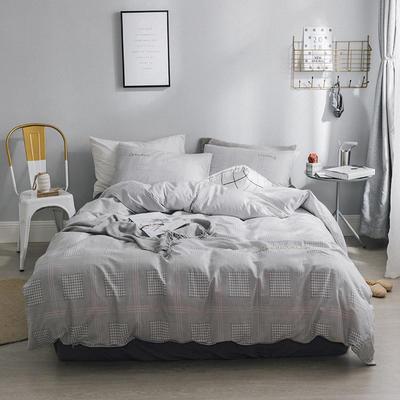 2018新款-创意生活四件套 1.2m(4英尺)床 千鸟格-灰色