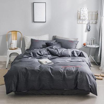 2018新款-创意生活四件套 1.2m(4英尺)床 深灰条纹