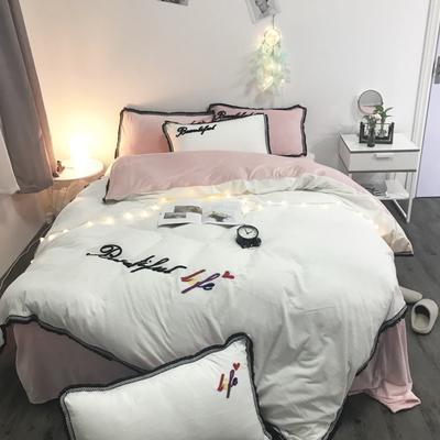 2018新款-美好生活四件套200克宝宝绒绣花实拍 床笠款三件套1.2m(4英尺)床 白粉