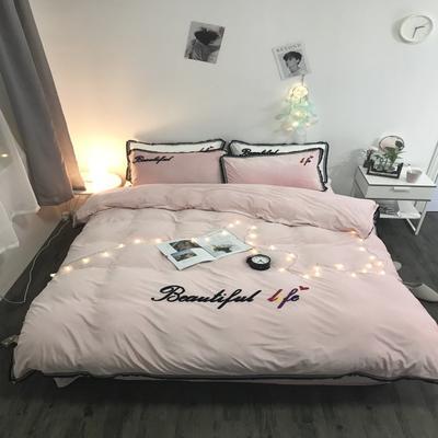 2018新款-美好生活四件套200克宝宝绒绣花实拍 三件套1.2m(4英尺)床 纯粉