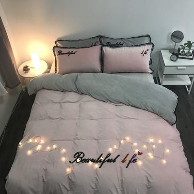2018新款-美好生活四件套200克宝宝绒绣花实拍 床笠款三件套1.2m(4英尺)床 粉灰