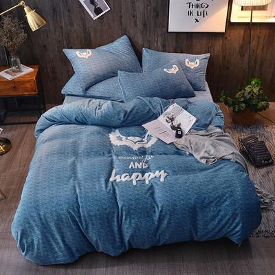 2018新款-肌理纹牛奶绒绣花款四件套 1.5m(5英尺)床 永恒的心-蓝色