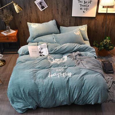 2018新款-肌理纹牛奶绒绣花款四件套 1.5m(5英尺)床 永恒的心-绿色