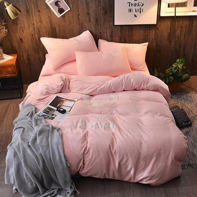 2018新款-肌理纹牛奶绒绣花款四件套 1.5m(5英尺)床 永恒的心-桃粉色