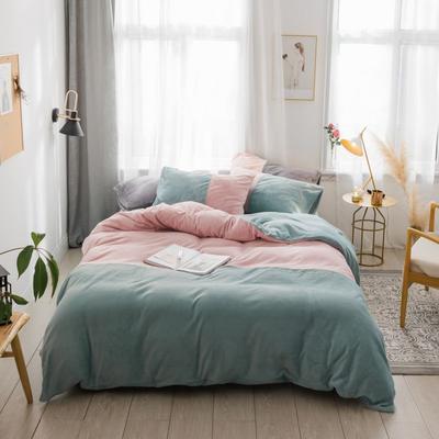 2018新款-流行色牛奶绒工艺款刺绣双拼四件套 1.8m(6英尺)床 豆沙粉抹茶绿