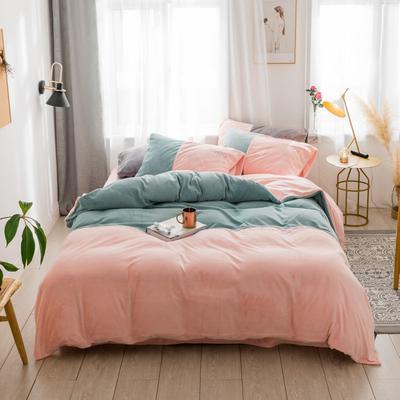 2018新款-流行色牛奶绒工艺款刺绣双拼四件套 1.8m(6英尺)床 抹茶浅粉