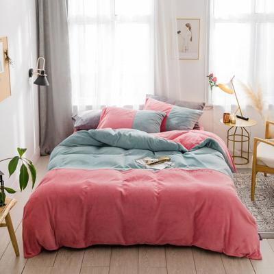 2018新款-流行色牛奶绒工艺款刺绣双拼四件套 1.8m(6英尺)床 抹茶胭脂红