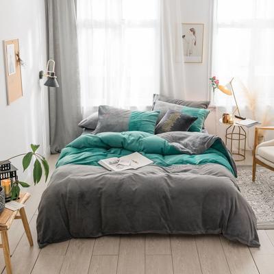 2018新款-流行色牛奶绒工艺款刺绣双拼四件套 1.8m(6英尺)床 气质墨绿灰