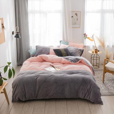 2018新款-流行色牛奶绒工艺款刺绣双拼四件套 1.8m(6英尺)床 浅粉灰