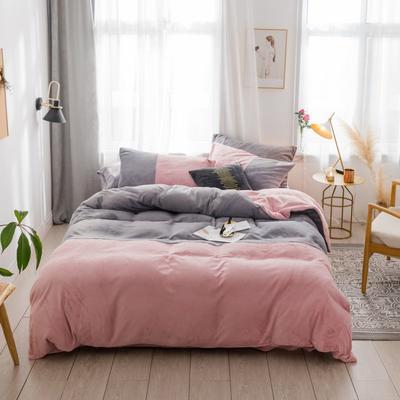 2018新款-流行色牛奶绒工艺款刺绣双拼四件套 1.8m(6英尺)床 浅灰豆沙粉