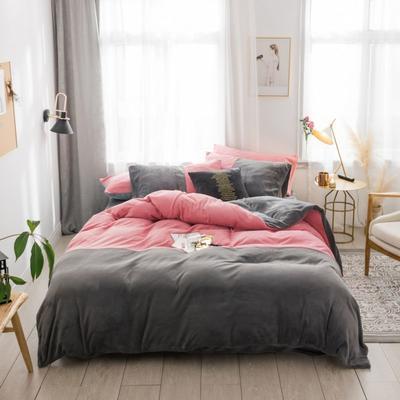2018新款-流行色牛奶绒工艺款刺绣双拼四件套 1.8m(6英尺)床 胭脂红深灰