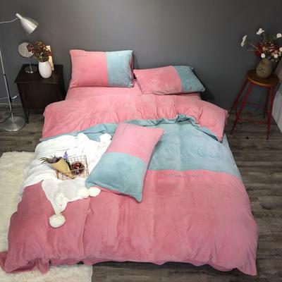 2018新款-流行色牛奶绒工艺款刺绣双拼四件套(实拍图) 1.8m(6英尺)床 抹茶胭脂红