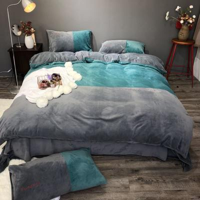 2018新款-流行色牛奶绒工艺款刺绣双拼四件套(实拍图) 1.5m(5英尺)床 气质墨绿灰