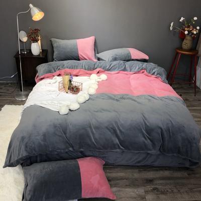 2018新款-流行色牛奶绒工艺款刺绣双拼四件套(实拍图) 1.8m(6英尺)床 胭脂红深灰