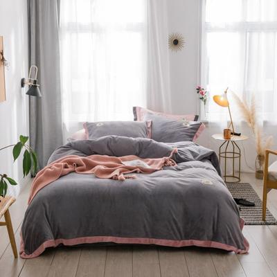 2018新款-流行色牛奶绒宽边撞色工艺款四件套 1.8m(6英尺)床 佛系浅灰