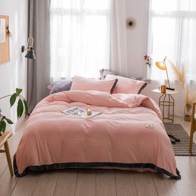 2018新款-流行色牛奶绒宽边撞色工艺款四件套 1.8m(6英尺)床 裸粉色