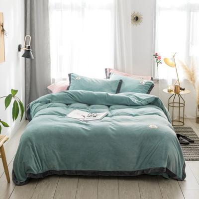 2018新款-流行色牛奶绒宽边撞色工艺款四件套 1.8m(6英尺)床 抹茶绿