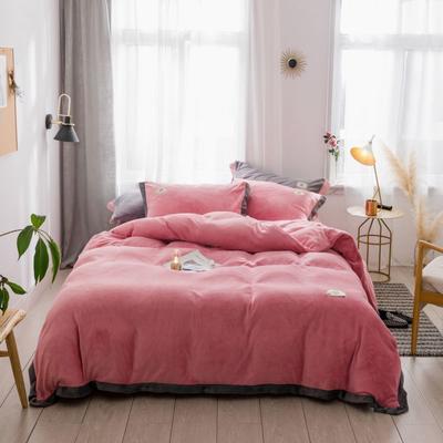 2018新款-流行色牛奶绒宽边撞色工艺款四件套 1.8m(6英尺)床 胭脂红