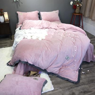 2018新款-流行色牛奶绒宽边撞色工艺款四件套(实拍图) 1.5m(5英尺)床 豆沙粉