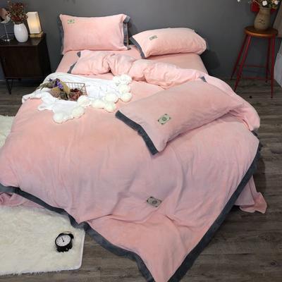 2018新款-流行色牛奶绒宽边撞色工艺款四件套(实拍图) 1.5m(5英尺)床 裸粉