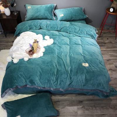 2018新款-流行色牛奶绒宽边撞色工艺款四件套(实拍图) 1.8m(6英尺)床 气质墨绿