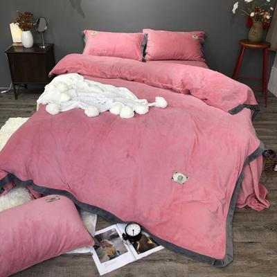 2018新款-流行色牛奶绒宽边撞色工艺款四件套(实拍图) 1.8m(6英尺)床 胭脂红