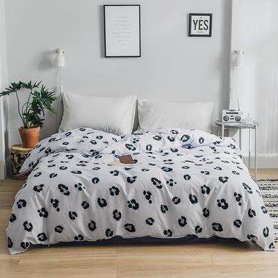2019新款-全棉简约轻奢单品被套 155*210cm 豹纹芭比(灰)