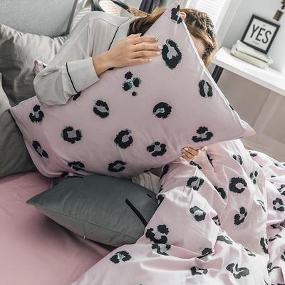 2019新款-全棉简约轻奢单品枕套 48cmX74cm/一对 豹纹芭比(粉)